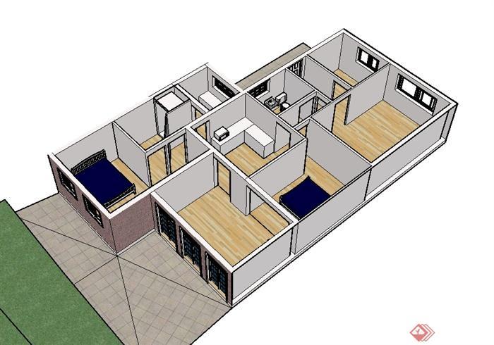 现代风格单层室内空间设计su模型[原创]