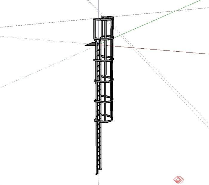 某现代风格铁艺爬梯设计su模型[原创]
