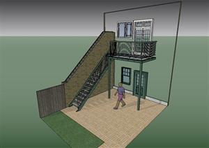 某現代風格住宅建筑樓梯欄桿、圍墻、門窗組合設計SU(草圖大師)模型