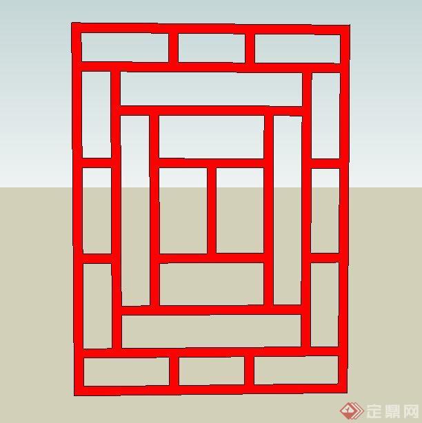 8种中式窗花样式su模型(2)