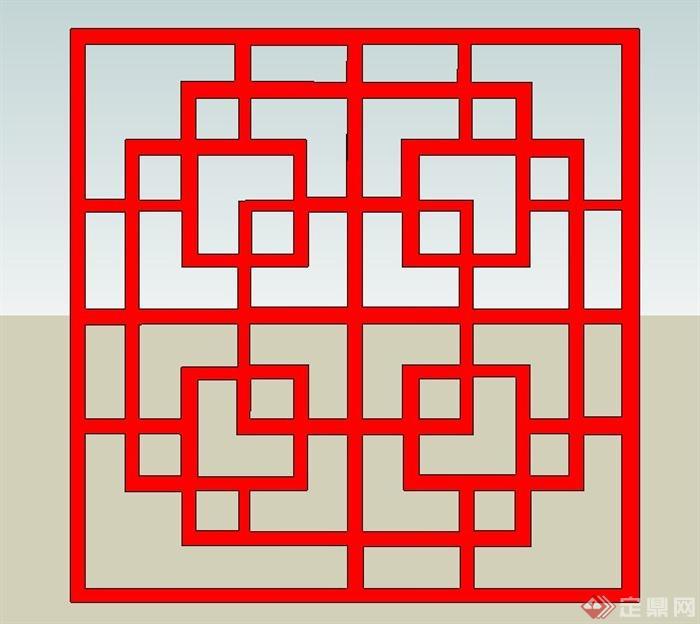 8种中式窗花样式su模型(3)