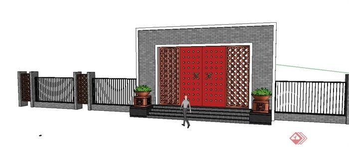 新中式围墙及镂空大门设计su模型[原创]图片