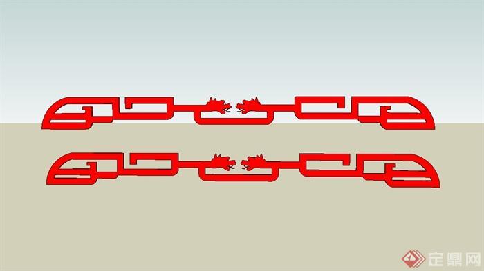 12种中式回纹样式图案设计SU模型(2)