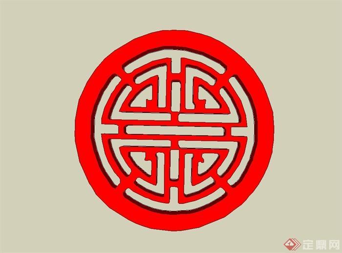 12种中式回纹样式图案设计SU模型(3)