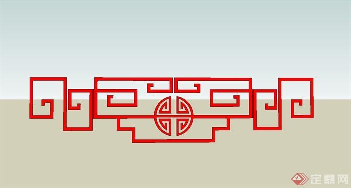 12种中式回纹样式图案设计SU模型(6)