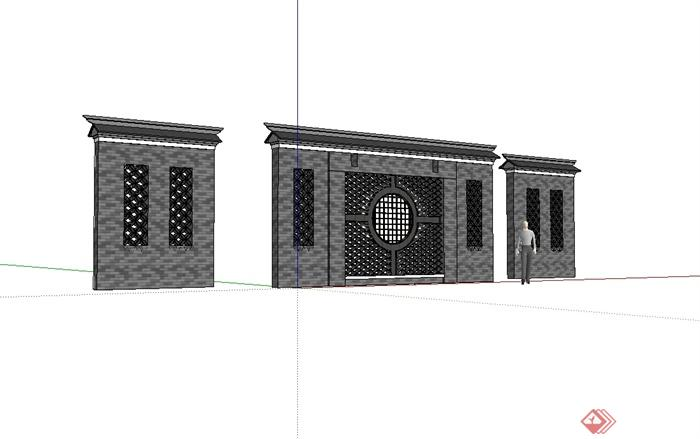 现代中式风格镂空照壁景墙设计su模型[原创]