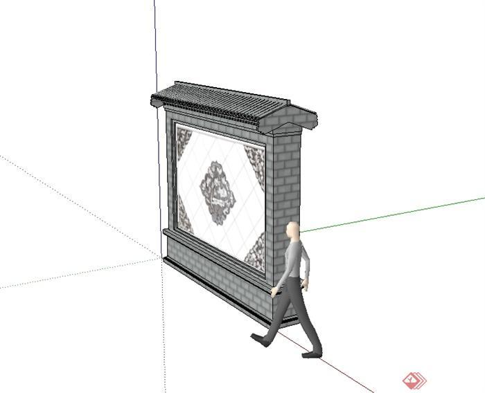 现代中式风格景墙照壁设计su模型[原创]