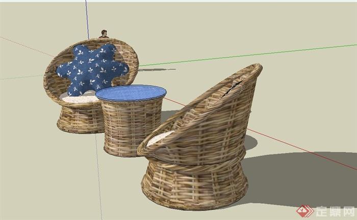 某现代风格休闲藤椅SU模型设计(3)