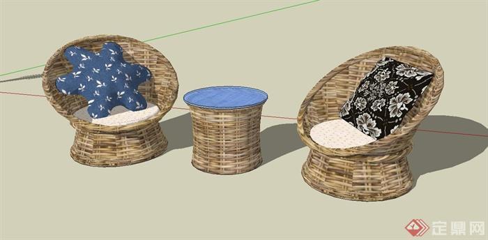 某现代风格休闲藤椅SU模型设计(2)