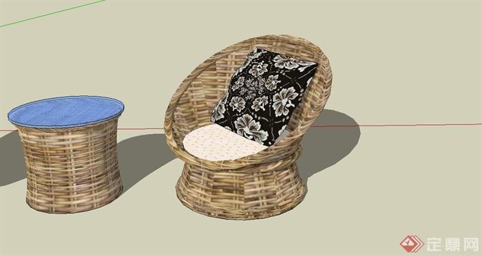 某现代风格休闲藤椅SU模型设计(4)