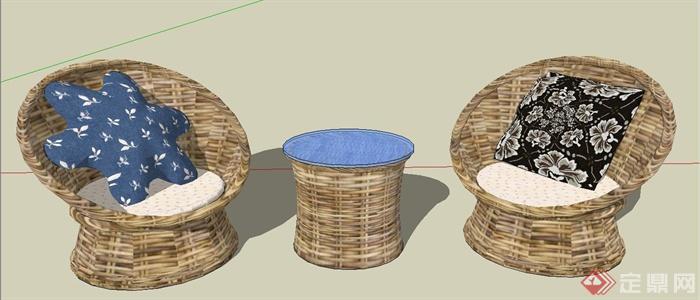 某现代风格休闲藤椅SU模型设计(5)