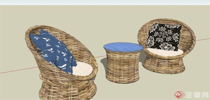 某现代风格休闲藤椅SU模型设计(6)