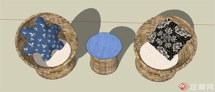某现代风格休闲藤椅SU模型设计(8)
