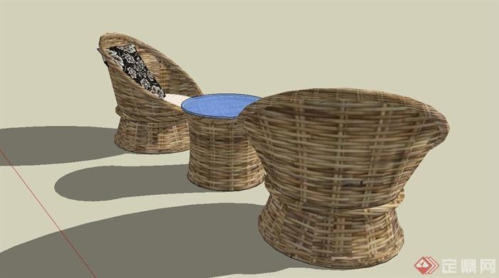 某现代风格休闲藤椅SU模型设计(7)