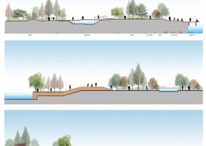 3张滨水现代驳岸景观设计PSD立面图