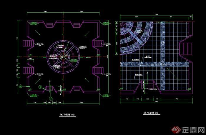 某广场旱喷泉水池设计cad施工图