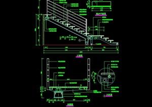 某現代風格樓梯欄桿設計cad施工大樣圖
