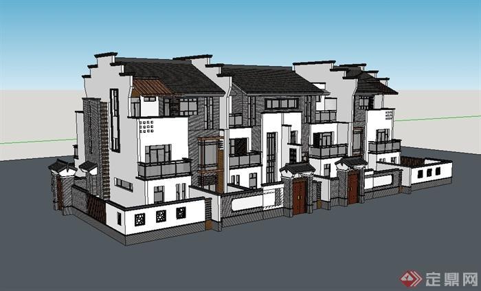 徽派风格联排别墅建筑楼设计su模型(1)