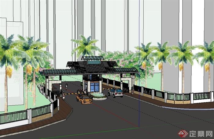 某現代中式風格小區入口大門景觀設計su模型(1)
