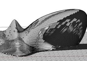 某现代风格电影院建筑构架SU(草图大师)模型设计