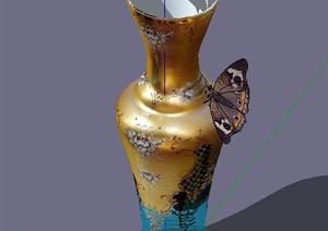 彩绘精美花瓶SU(草图大师)模型
