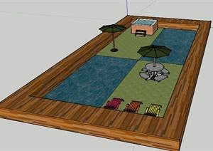 简约矩形泳池SU(草图大师)模型