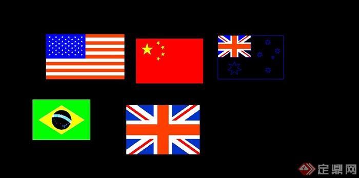 五種國旗CAD設計詳圖(2)