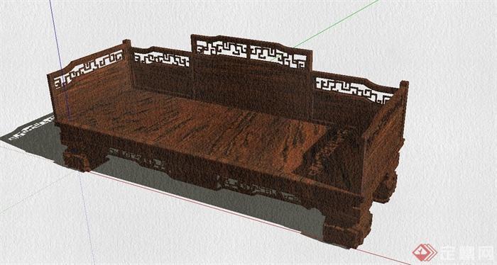 某古典中式风格罗汉床设计SU模型(4)