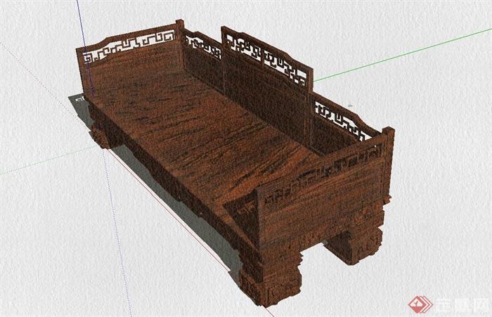 某古典中式风格罗汉床设计SU模型(5)