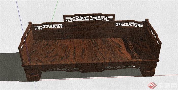 某古典中式风格罗汉床设计SU模型(6)