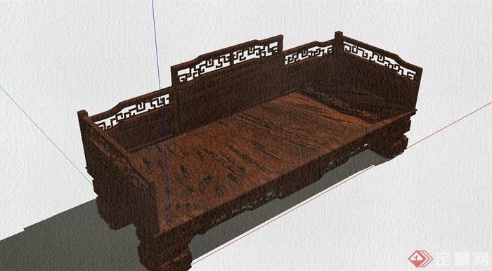 某古典中式风格罗汉床设计SU模型(7)