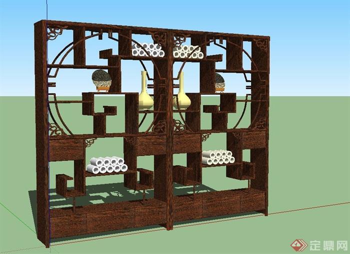 某古典中式风格博古架设计SU模型(4)