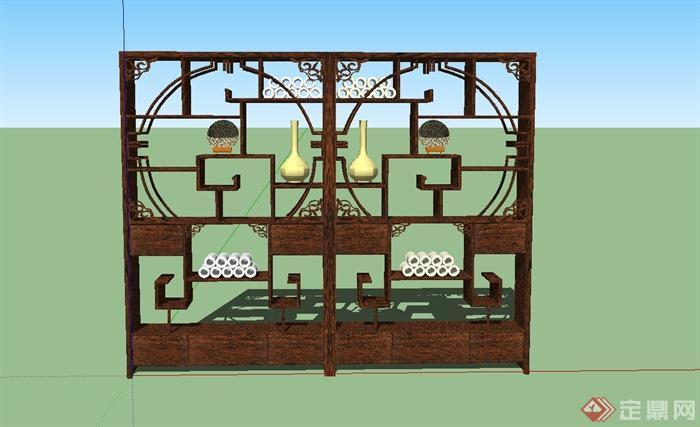 某古典中式风格博古架设计SU模型(5)