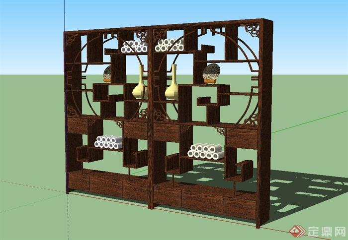 某古典中式风格博古架设计SU模型(6)