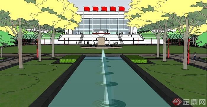 某现代风格精致大学校园景观规划有什么可以免费领红包su模型[原创]