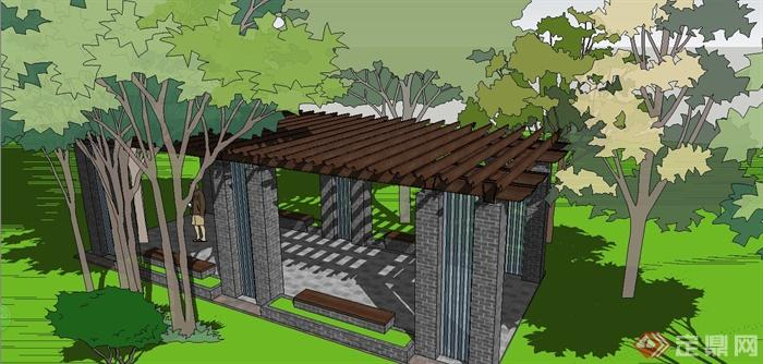 某现代中式风格青砖花架设计su模型(2)