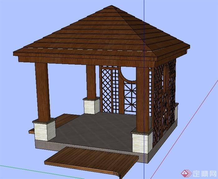 中式木质四角亭凉亭设计su模型[原创]
