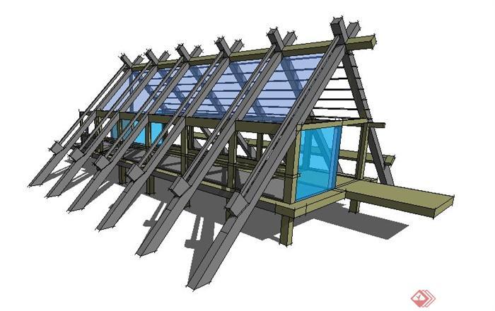 现代风格水中廊架设计su模型[原创]