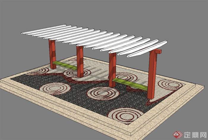 某现代风格廊架及地面设计su模型[原创]