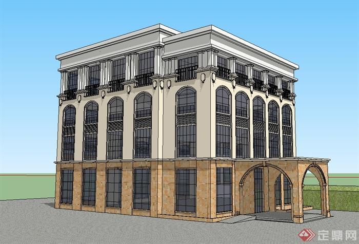 某欧式风格幼儿园教育建筑楼设计su模型[原创]
