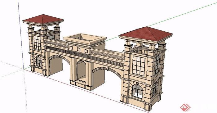某欧式风格精致住宅小区大门设计su模型[原创]