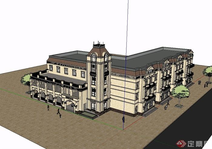 某欧式风格详细精致学校教育楼设计su模型,模型为欧式风格,模型制作详细精致完整,模型有材质贴图,可直接下载用于相关建筑楼设计使用,有需要请自行下载使用。