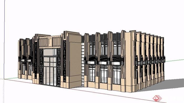 新古典二层商业建筑立面设计su模型[原创]