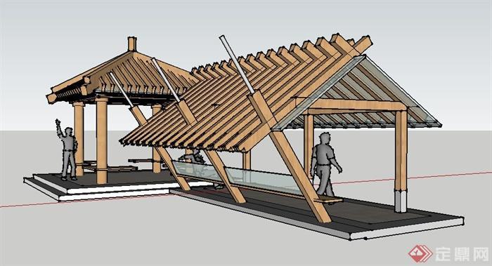 现代玻璃木结构亭廊设计su模型[原创]