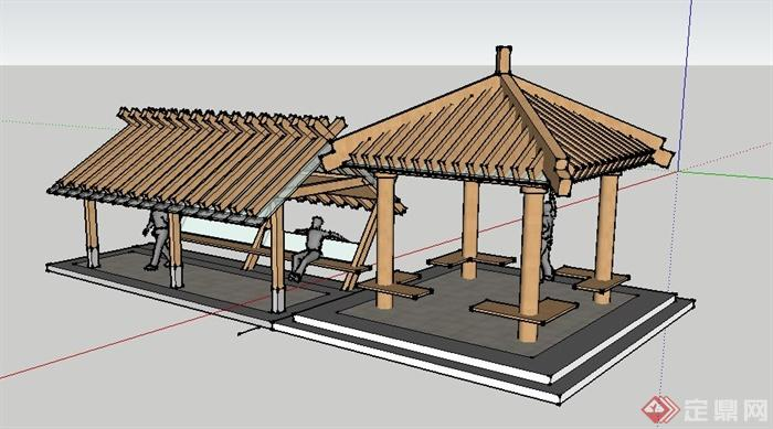 现代玻璃木结构亭廊设计su模型(3)