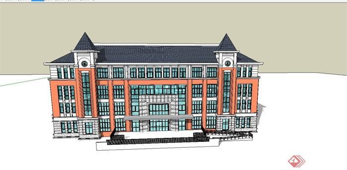 某欧式风格学校教学楼建筑设计su模型(2)