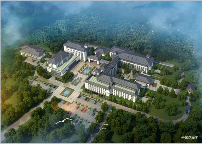 某现代中式结构精神病院建筑设计ppt风格晶体[绘制]diamond原创全套方案图片
