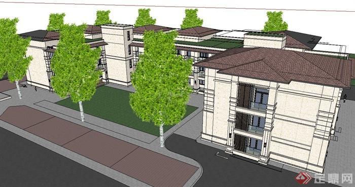 某古典欧式风格幼儿园建筑设计su模型(3)