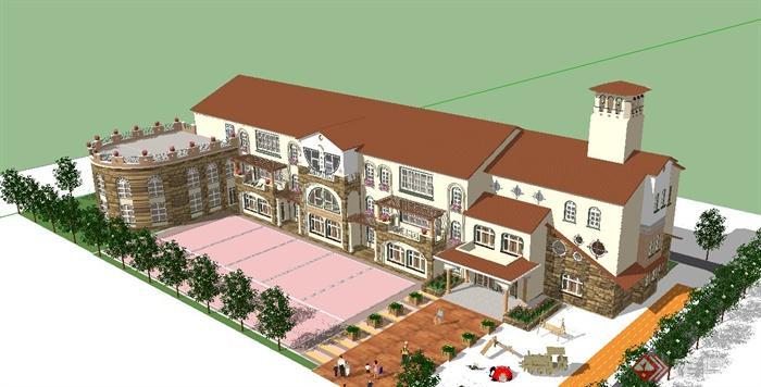 某欧式童话风幼儿园建筑设计su模型[原创]