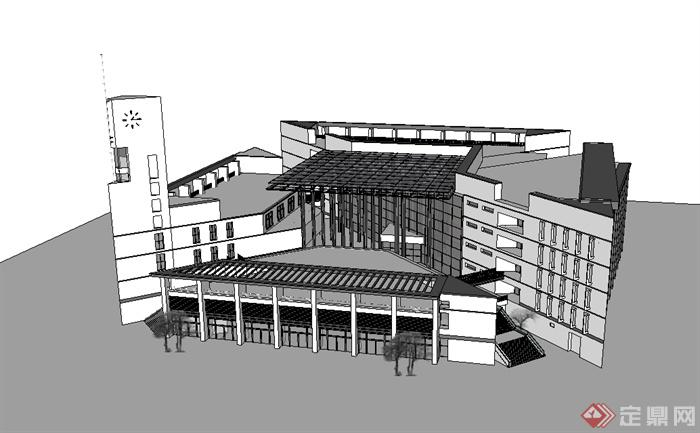 某现代风格福州大学图书馆建筑楼设计su模型(1)图片